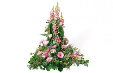 image de la composition de deuil dans les tons roses Pensées