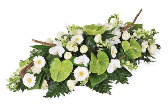 image de la raquette de deuil vertes & blanche du nom de Commémoration
