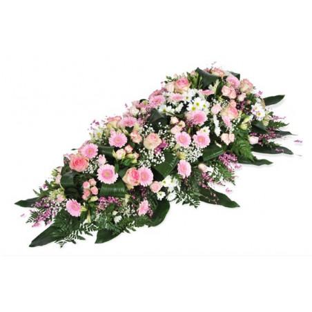 image de la composition de deuil dans les tons roses repos éternel