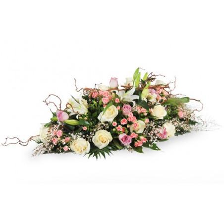 image de la composition pour un enterrement dan les tons rose & blanc Equinoxe