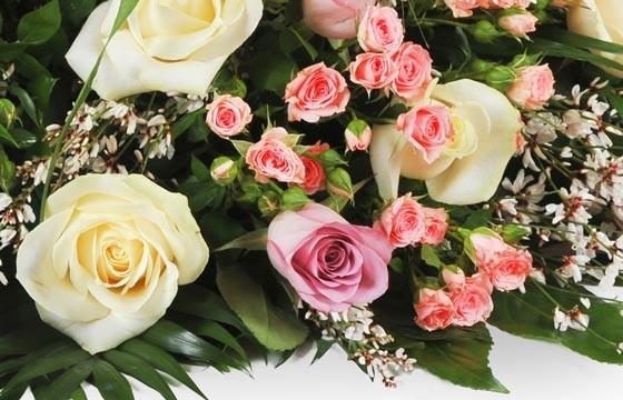 vue sur un ensemble floral rose, rosette et gypsophile