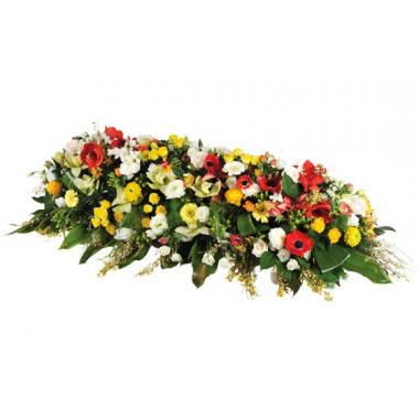 image de la composition de fleurs pour enterrement dans les tons jaune, rouge & blanc Comète