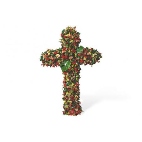 image de la croix de deuil de fleurs rouges du nom de Les Cieux