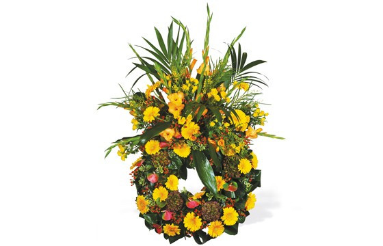image de la couronne de deuil de fleurs jaunes du nom de Lumière