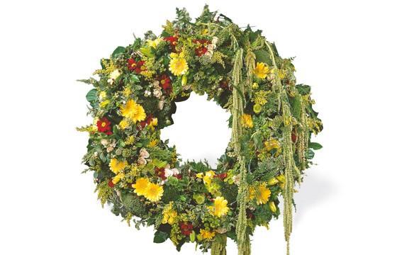 image de la couronne de fleurs de deuil du nom de ciel étoilé