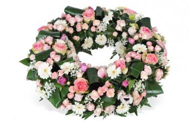 image de la couronne de fleurs rose & blanche Infinie Tendresse