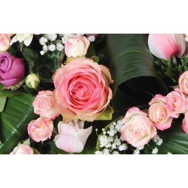 image d'une rose rose de la couronne de deuil Infinie Tendresse