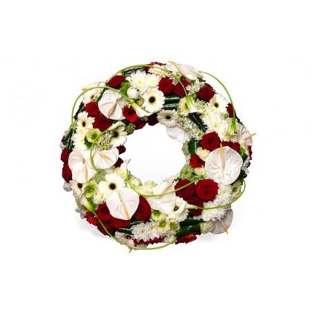 image de la couronne de deuil rouge et blanche repos infini