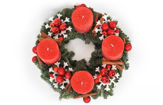 couronne de l 39 avent rouge livraison de fleurs pour no l l 39 agitateur floral. Black Bedroom Furniture Sets. Home Design Ideas