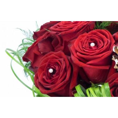 image de deux roses rouges du Bouquet de roses pour Noël Alhambra