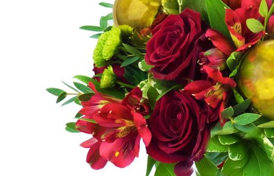 vue sur des roses rouges du Bouquet du fleuriste Noël Rouge