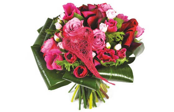 image du Bouquet rond de fleurs roses Framboisine