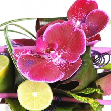 Zoom sur le fleuron d'orchidée de la composition florale