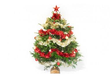 image du Sapin de Noël Décoré Rouge et Or