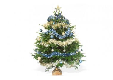 image du Sapin de Noël Décoré Bleu et Or