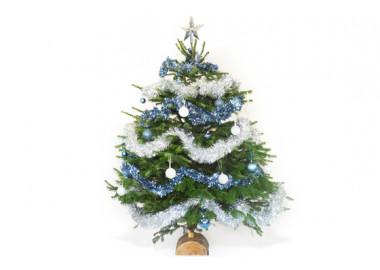 L'Agitateur Floral |image du Sapin de Noël Décoré Bleu et Argent