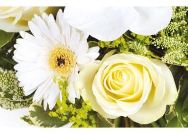 L'Agitateur Floral | zoom sur une rose blanche et un gerbera blanc du bouquet
