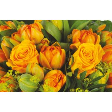 zoom sur les roses et tulipes orange