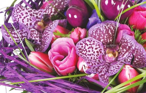 zoom sur le centre du Bouquet de fleurs mauve So-Chic