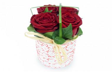 image de la Composition de roses rouges Pot d'Amour