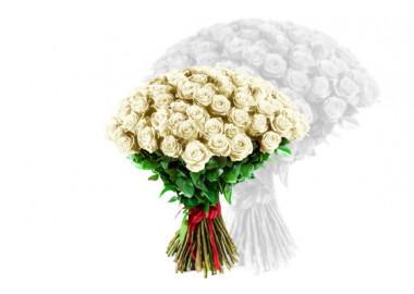 image du bouquet de roses blanches coutes tiges