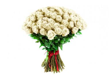 image du Bouquet de Roses Blanches longues tiges
