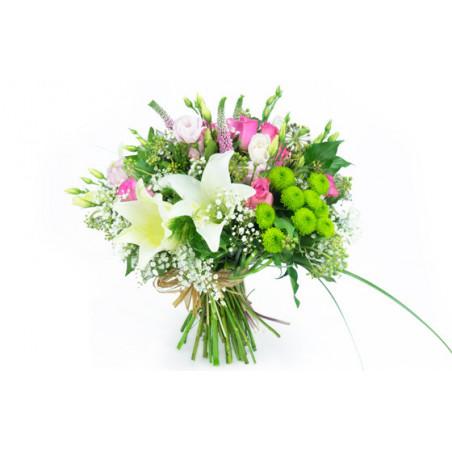 image du Bouquet rond de fleurs Lily Rose