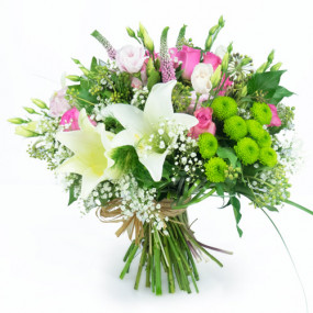 Bouquet rond lys blanc roses roses livraison de fleurs for Offrir des fleurs a domicile
