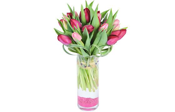 image du Bouquet rond de Tulipes roses & mauves