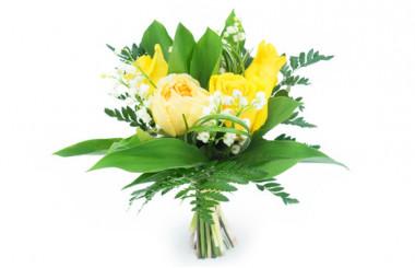 image du Bouquet de Muguet & Roses Jaunes
