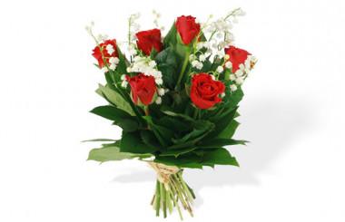 image du Bouquet de Muguet & Roses Rouges