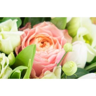 L'Agitateur Floral | image sur une rose rose et lisianthus