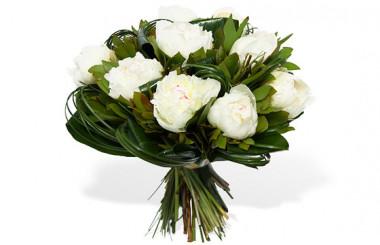 image du Bouquet Rond de Pivoines Blanches