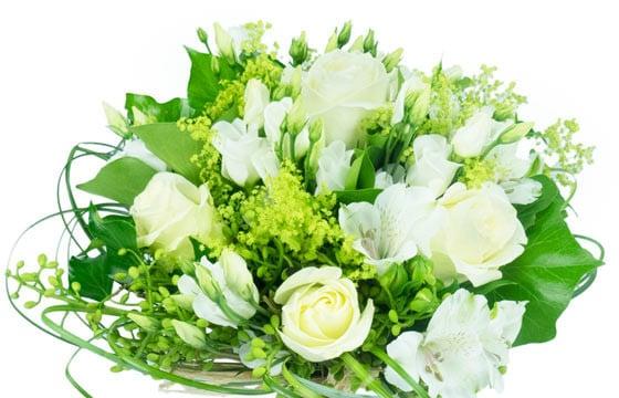 bouquet rond tons blancs clart livraison de fleurs par. Black Bedroom Furniture Sets. Home Design Ideas