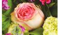 zoom sur une rose rose du bouquet