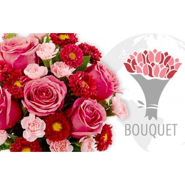 L'Agitateur Floral | image du bouquet Rose et Rouge pour envoyer des fleurs à l'international
