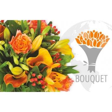 L'Agitateur Floral |image du bouquet de fleurs dans les tons oranges pour une livraison de fleurs à l'international