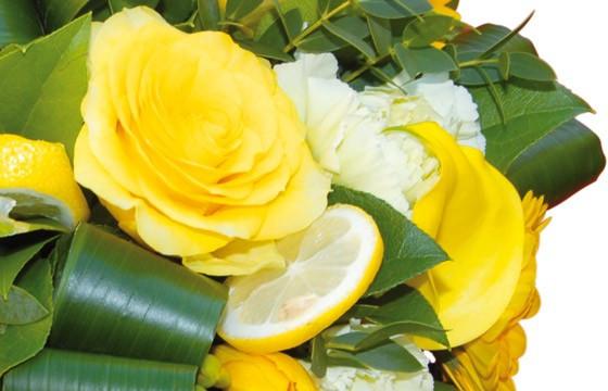 zoom sur une rose jaune et rondelle de citron