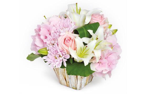 Livraison D Une Composition De Fleurs Roses Et Blanches Velours Rose