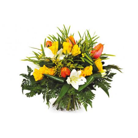 L'Agitateur Floral | Image du bouquet de fleurs tons jaune et orange Fleurs d'orangé