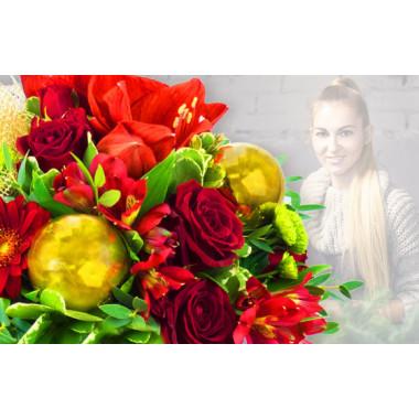 L'Agitateur Floral |image du Bouquet Surprise de Noël tons rouge et or