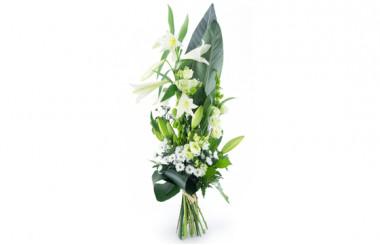 Image du bouquet de deuil dans les tons blancs du nom de Condoléances