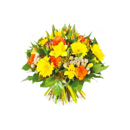 Bouquet rond printanier jaune et orange envoi de fleurs for Bouquet par internet