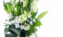 zoom sur le centre du Bouquet de deuil blanc, Condoléances