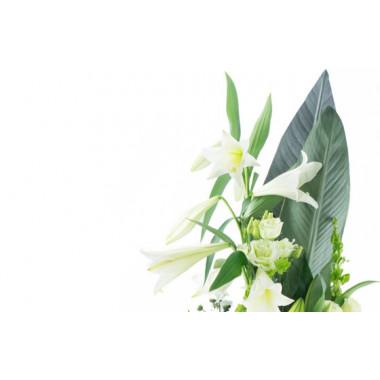 zoom sur le haut du Bouquet de deuil blanc, Condoléances