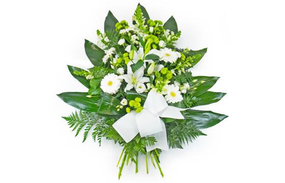 L'Agitateur Floral | image de la gerbe de fleurs de deuil dans les tons blancs