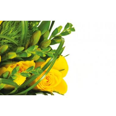 zoom sur des fleurs jaune du bouquet Vert Tige
