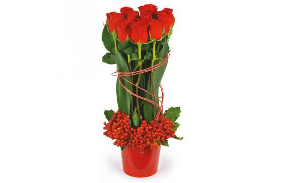 L'Agitateur Floral |image de la composition de roses rouges Flamme