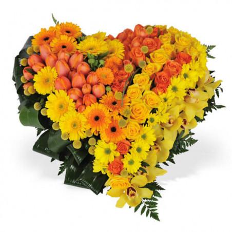 L'Agitateur Floral | image du coeur de deuil fait de fleurs jaunes et oranges