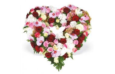 L'Agitateur Floral | coeur en fleurs de deuil tons rouge rose & blanc
